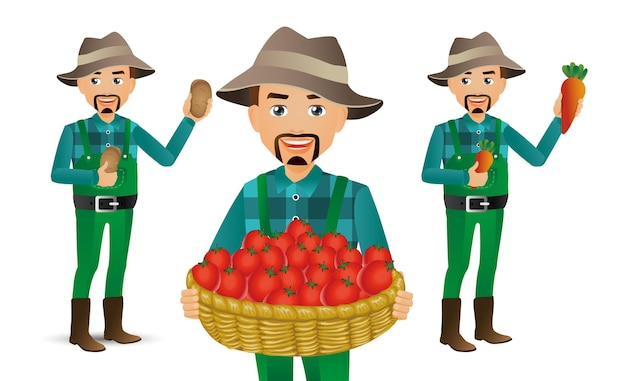 Farmer with different poses