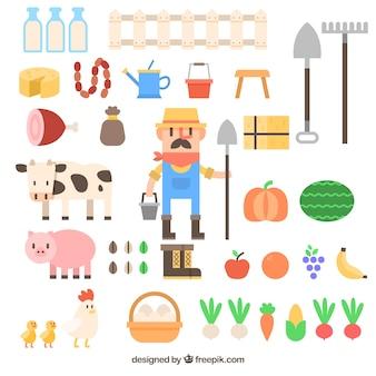 Фермер с коллекцией аксессуаров фермы в плоской конструкции