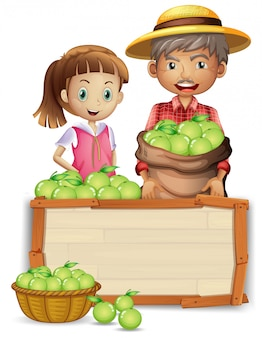 Farmer with lime on wooden board