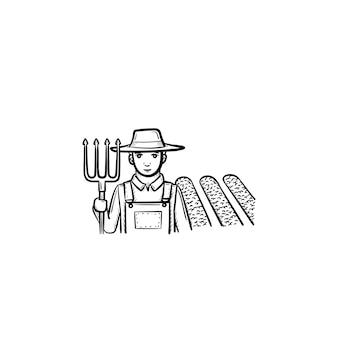필드 손으로 그린 벡터 개요 낙서 아이콘에서 갈퀴 오크와 농부. 흰색 배경에 고립 된 인쇄, 웹, 모바일 및 infographics에 대 한 농부 스케치 그림.