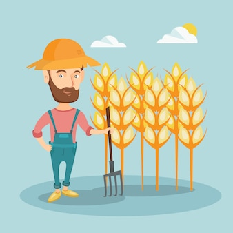 Farmer with pitchfork vector illustration.