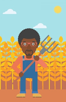 Farmer with pitchfork