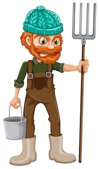 A farmer with pitchfork