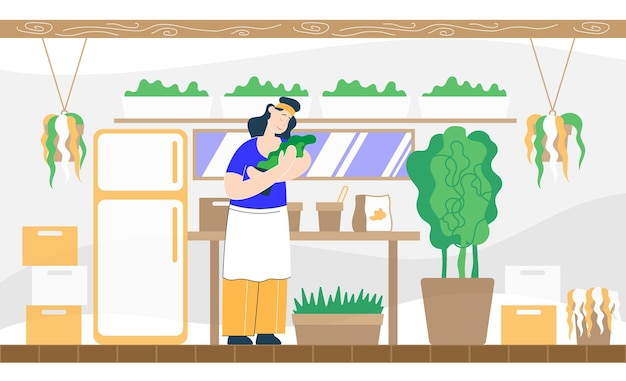 손에 식물을 든 농부는 그를 돌보는 방법을 생각합니다. 색 벡터 평면 만화 일러스트 레이 션.