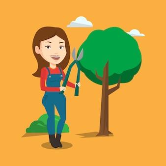 정원에서 정리기와 농부