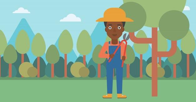 정원에서 정리기와 농부입니다.
