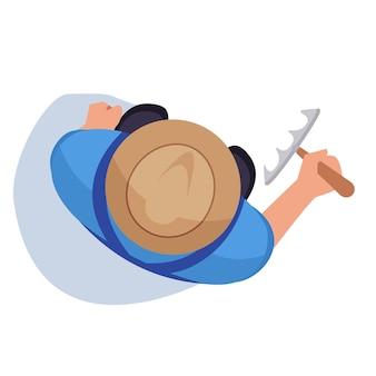 Фермер с граблями полу плоской цветовой векторной иллюстрацией rgb. человек стоит на поле. рабочий-мужчина с инструментом. агроном на плантации. садовник изолированных мультипликационный персонаж вид сверху на белом фоне