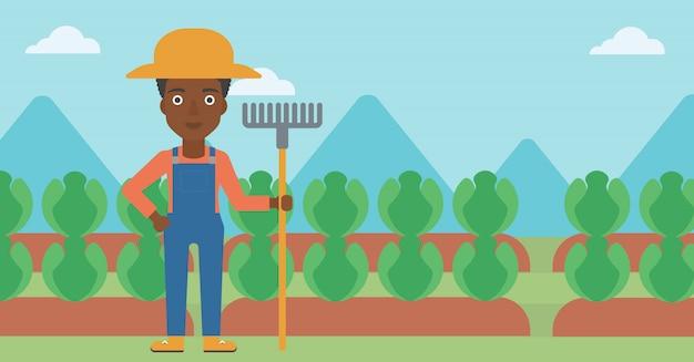 Farmer with rake