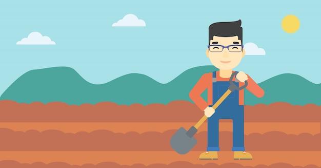 Farmer with shovel