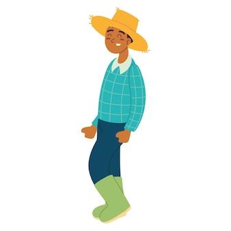 麦わら帽子をかぶった農夫
