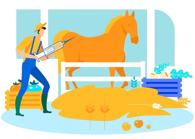 手に注射器を持つ農夫は馬を刺す。