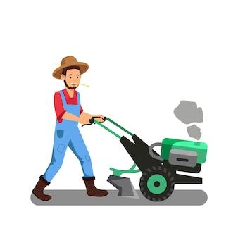 Farmer with tiller machine cartoon illustration