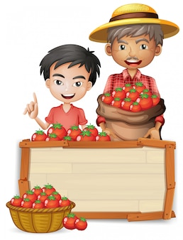 Farmer with tomato wooden banner