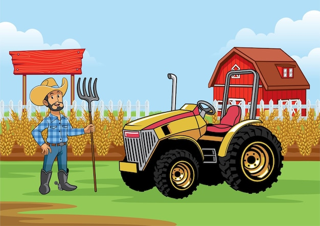 Farmer with tractor in the farm