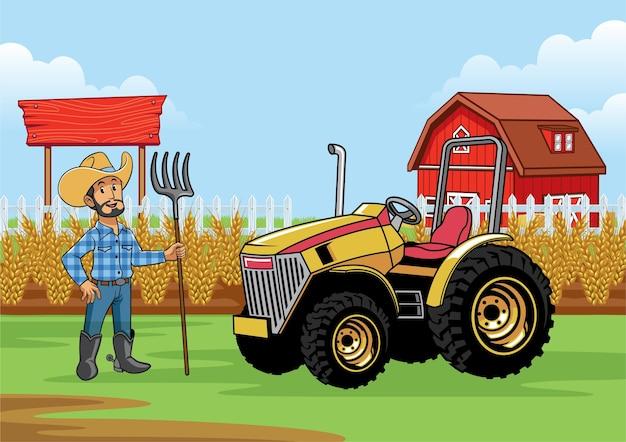 農場でトラクターを持っている農夫