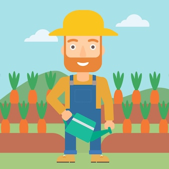 Farmer with watering can