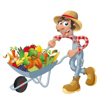 Farmer with a wheelbarrow