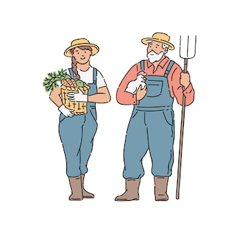 農家の女性と野菜、鶏肉、フォークを手に持つ男。白のラインアートスタイルのイラスト