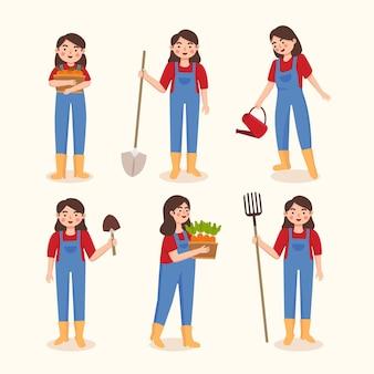 Иллюстрация персонажа женщины-фермера