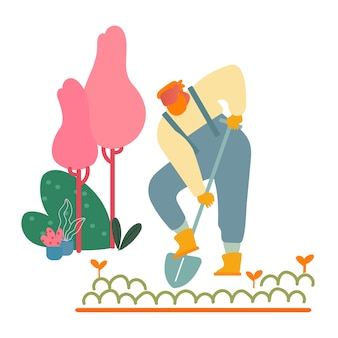 Farmer woman in overalls working in garden digging soil and care of plants in village or countryside.