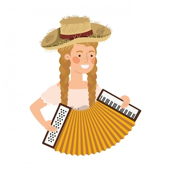 Farmer woman with musical instrument