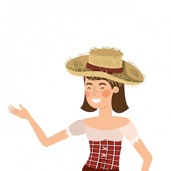 Farmer woman with straw hat