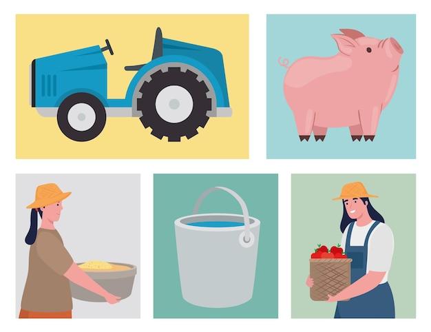 Farmer women and icon set