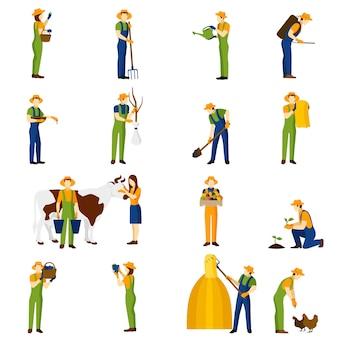Agricoltore al set di icone piane di lavoro