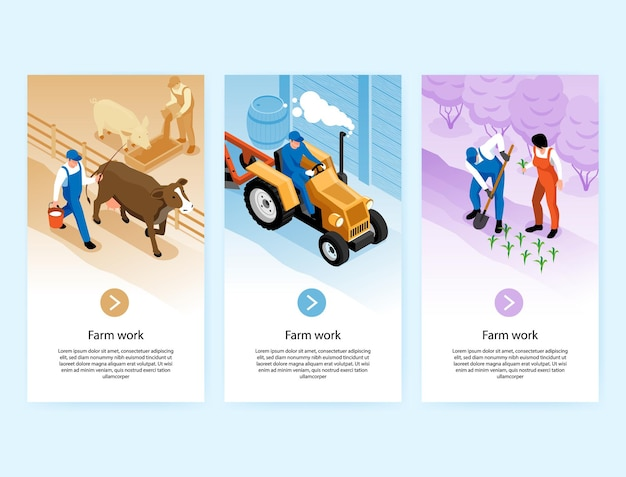 Farmer work isometric vertical banners with cow milking planting seedlings tractor plowing soil