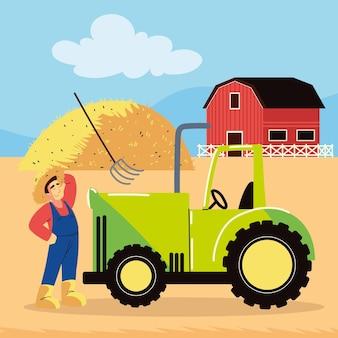 농장에서 일하는 농부