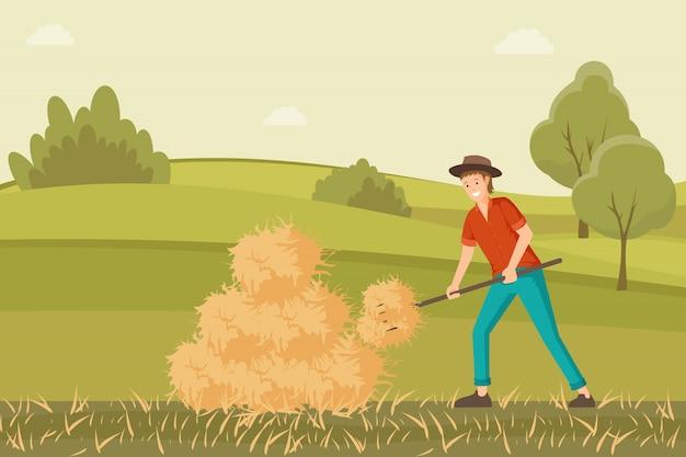 Farmer working on hayfield illustration