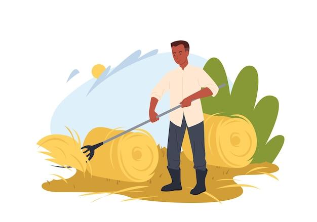 필드에서 일하는 농부. 둥근 건초 더미, 시골 및 농지, 농업 작업에서 갈퀴로 건초를 수집하는 만화 마을 노동자 농업