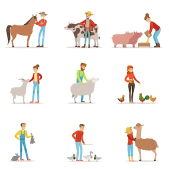 Farmers breeding livestock. farm profession worker people, farm animals. set of colorful cartoon detailed  illustrations