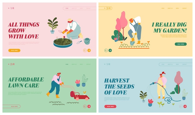 Farmers caring of plants website landing page set.