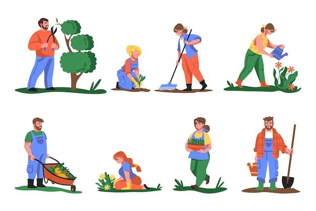 農民。花や緑を植えたり、植物を切ったり園芸したり、野菜や花を育てたりする漫画の人々。植物セットとベクトル図農業労働者