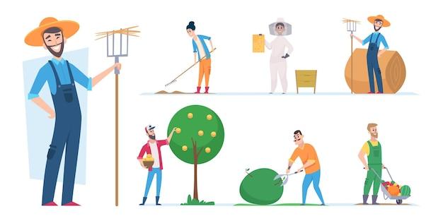 農民のキャラクター。農業労働者民族の人々はイラスト漫画をベクトルします。キャラクター農夫、熊手を持つ農夫