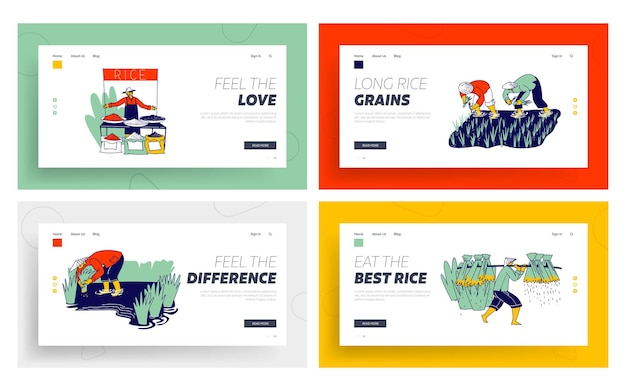 Farmers characters planting and grow rice in rainy season landing page template set.