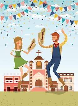 花輪と街並みを祝う農家カップル