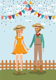 Farmers couple celebrating with garlands and fence