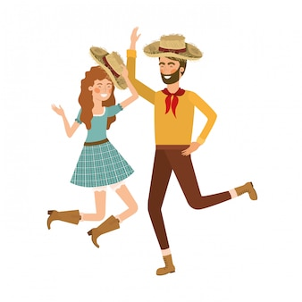 Farmers couple dancing with straw hat