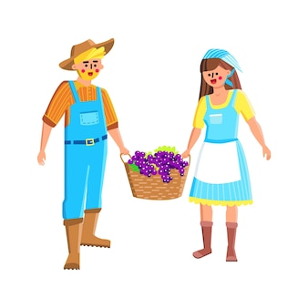 농부 부부 수확 포도 함께 벡터입니다. 남자와 여자 농장 노동자는 농업 열매를 수확하고 수확 바구니를 들고. 문자 원 예 평면 만화 일러스트 레이 션
