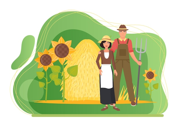Farmers couple people standing in farm village landscape with haystack and sunflowers
