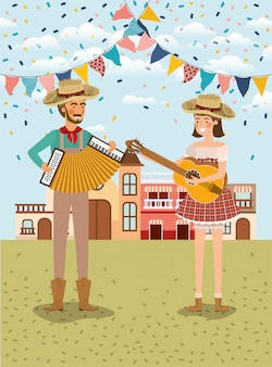 Farmers couple playing instruments with garlands and cityscape
