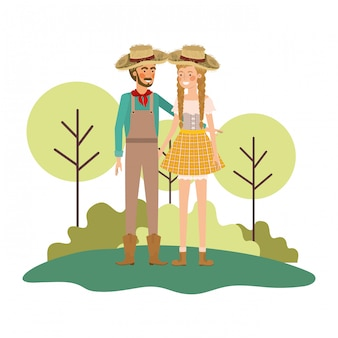 Farmers couple talking with straw hat in landscape