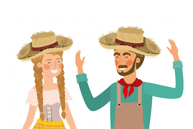 Farmers couple talking with straw hat