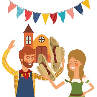 Farmers couple talking Free Vector