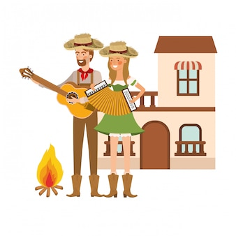 Farmers couple with musical instruments