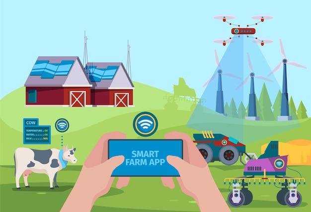 農民のドローン。農民が将来の技術ベクトルを自然にするのを助けるためのスマートガーデニング自動化車両の背景。イラストスマートハーベスティング、車両農業