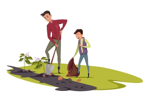 Семья фермеров, счастливые отец и сын копают картошку.