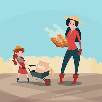 Farmers family hold wheat fresh bread